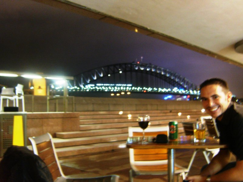 Having a drink at the Harbour