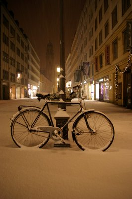 Midnight snow in Munich