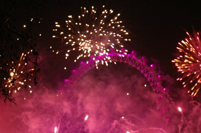 Fireworks show at London Eye on NYE