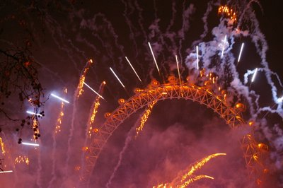 London Eye fireworks New Years Eve