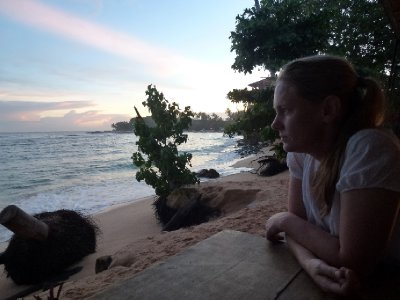 Jen watching Sunset from Cormoran Resort, Unawatuna