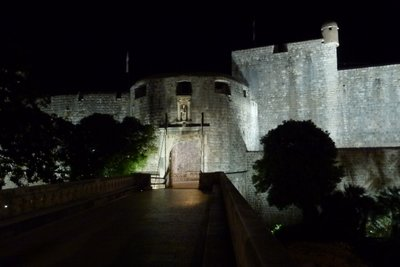 Dubrovnik old town entrance at night