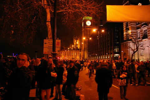 The crowd gathers for New Year celebrations in London