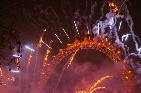 London Eye fireworks New Years Eve
