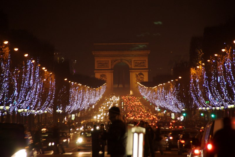 View along Champs Elysees on NYE