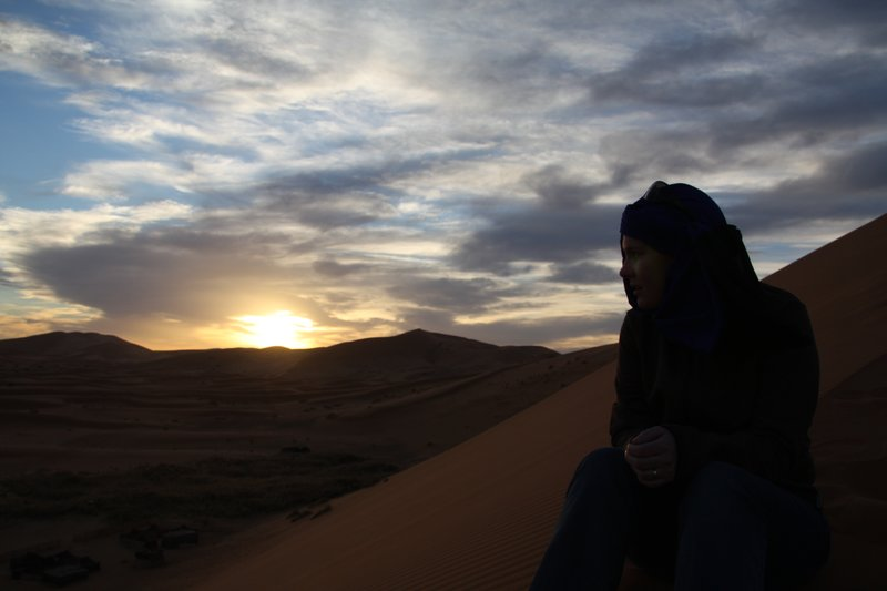 Jen at Sunset in the Sahara