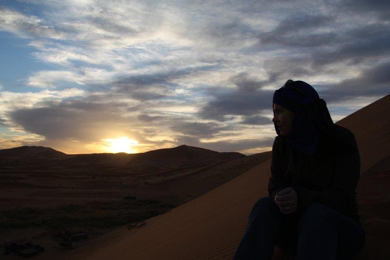 Jen at Sunset in the Sahara