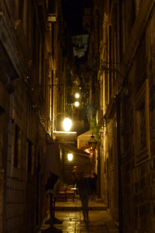 Dubrovnik old town alley at night