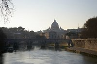 View along the Tiber towards Basilica di San Pietro