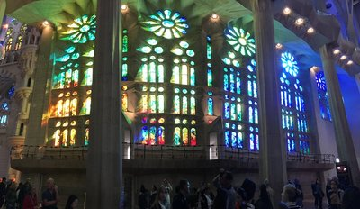 Light changing the color of the stained glass