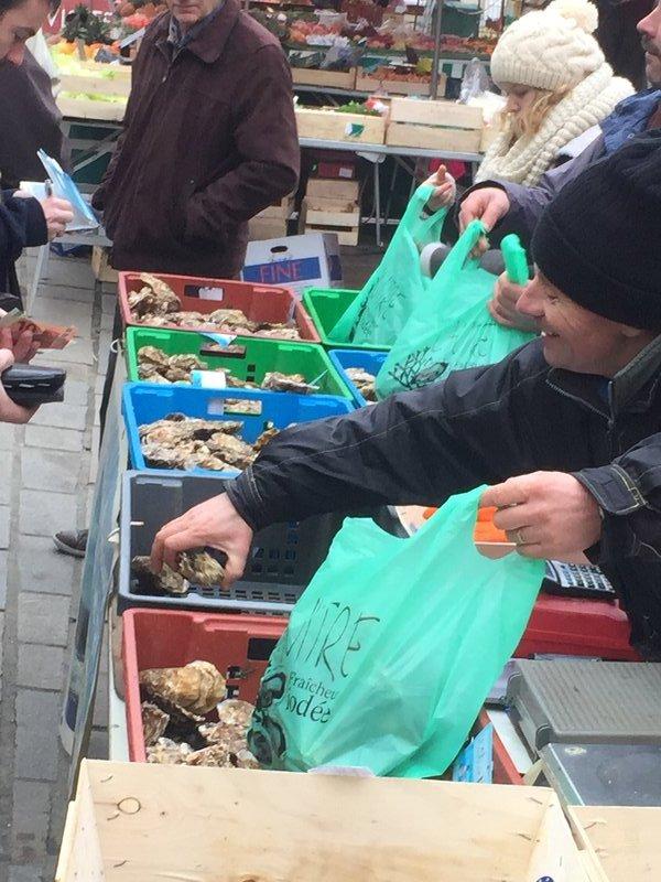 Guerande market seafood vendor