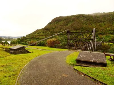 The bridge across the Grey River at Brenner Mine site.