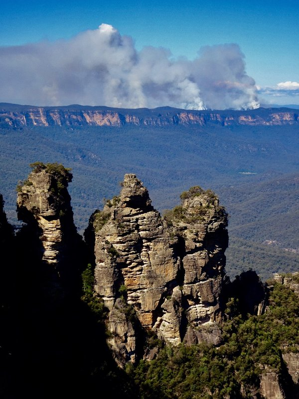 The Three Sisters, as viewed from Echo Point. There was a controlled burn taking place on the other side of the valley.