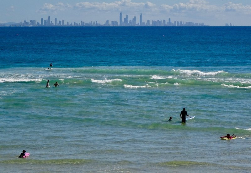 This is a long distance look at the Gold Coast skyline; this view is from Coolangatta.