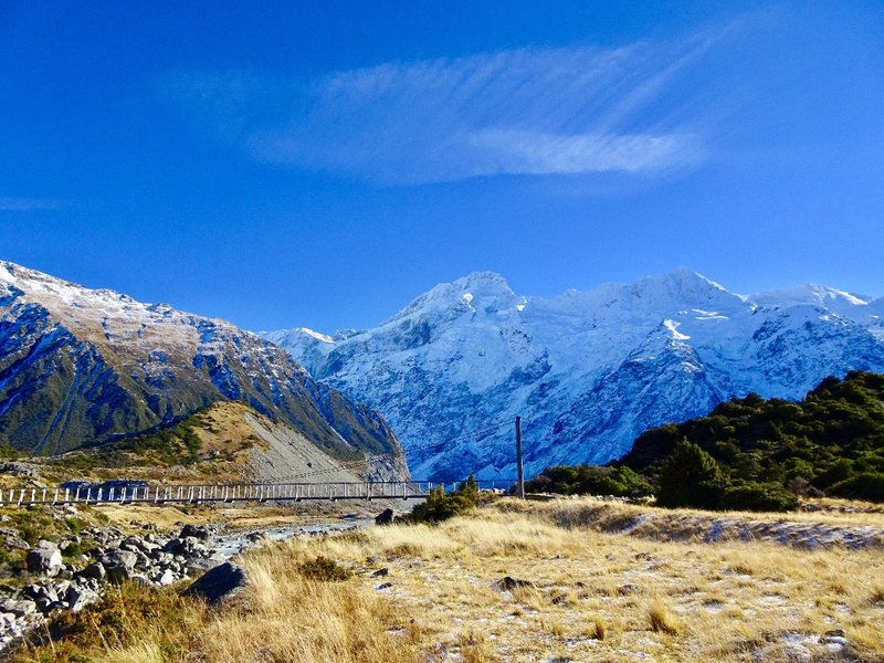 This is the first suspension bridge you cross when hiking along the Hooker Track (over the Hooker River).