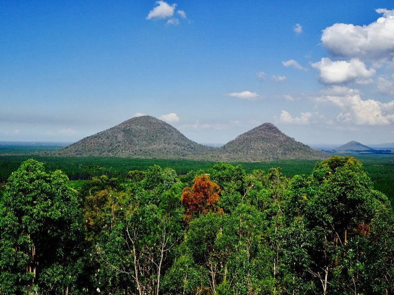 "A couple of the ""volcanic plugs"" that are a part of the Glass House Mountains."