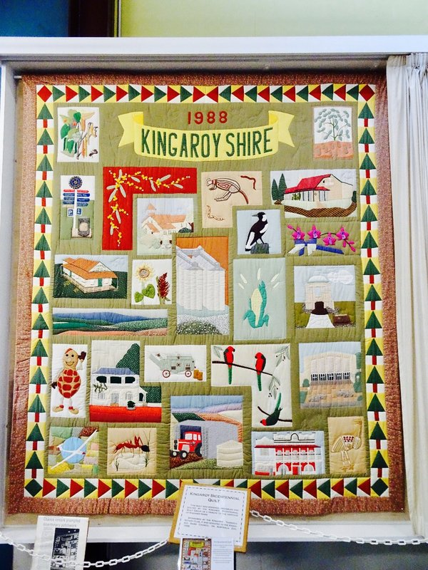 Bicentennial quilt that illustrates Kingaroy Shire history.