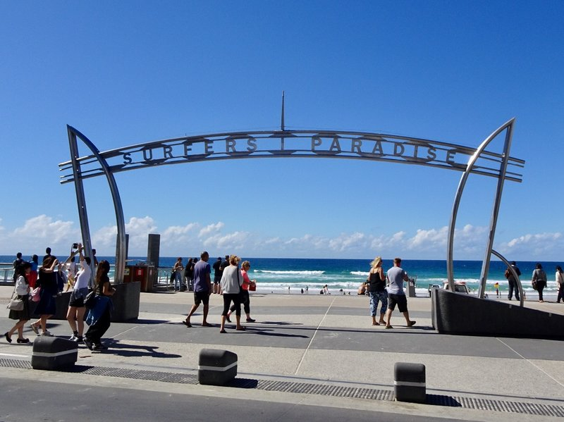 The sign for Surfers Paradise on the Gold Coast.