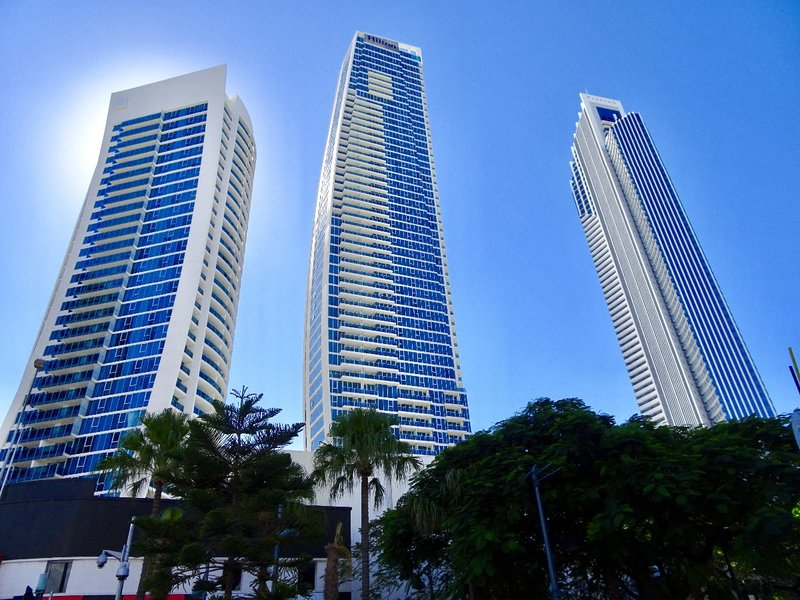 These tall buildings are at Surfers Paradise on the Gold Coast.