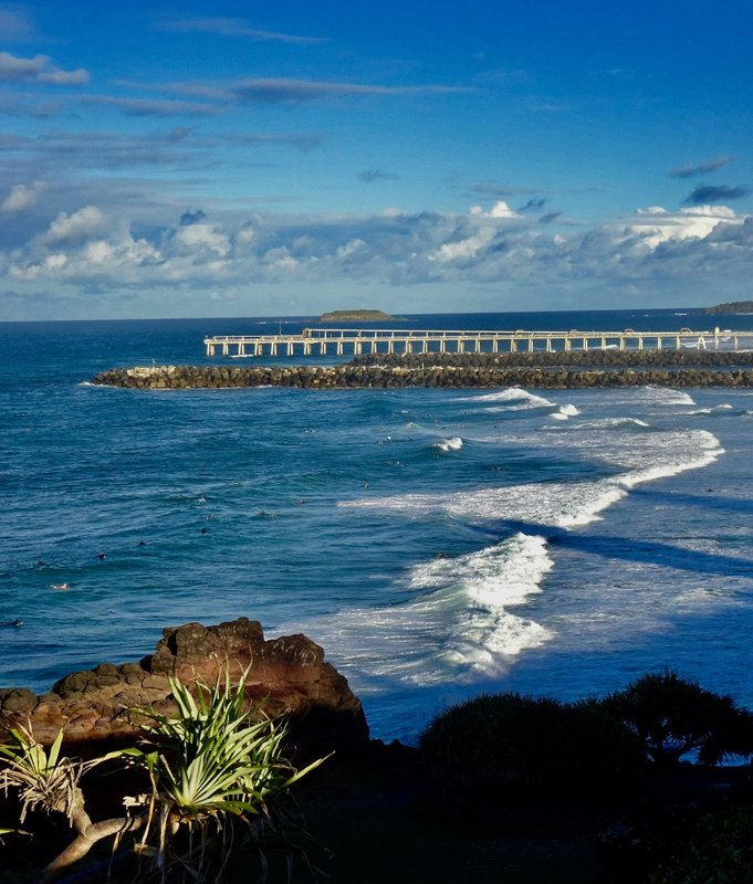 Duranbah Beach lies between Tweed Heads and Point Danger. The waters here were full of surfers.