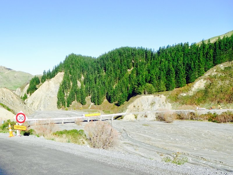 Traveling the Inland Road (to and from Kaikoura) requires patience. Although the construction stops were frequent, the wait time was usually minimal, especially considering the task at hand.  First, there was extensive damage from the Nov 2016 earthquake centered near here, and then there was additional damage from the flooding that occurred because of Cyclone Debbie.