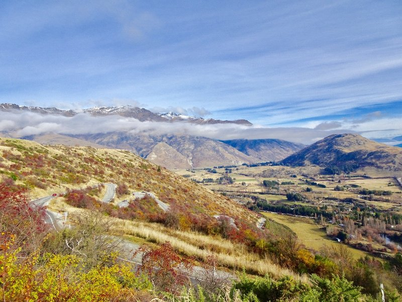 A view of the Crown Range Road, as it winds it's way down to the Arrow Valley just above Queenstown.