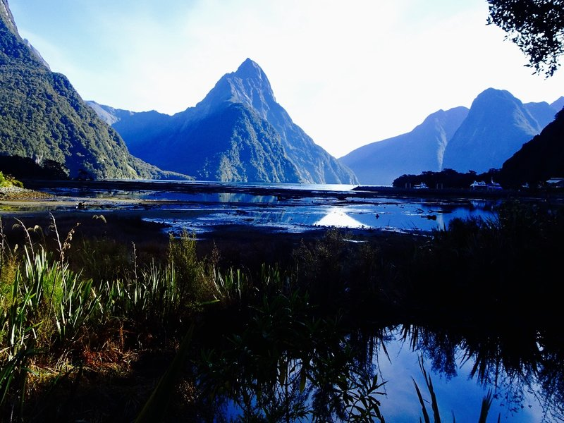 From the shore, we had this view of Mitre Peak before our cruise on the Milford Sound.