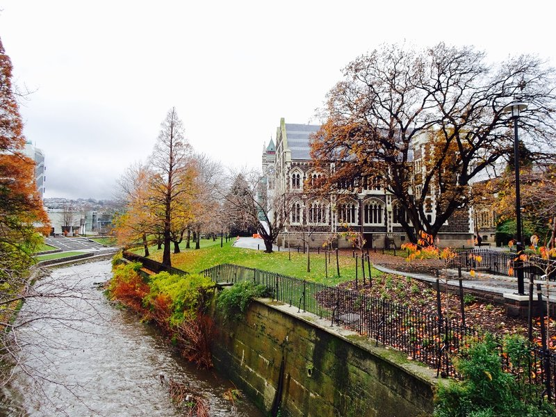 The Water of Leith runs through the University of Otago campus.