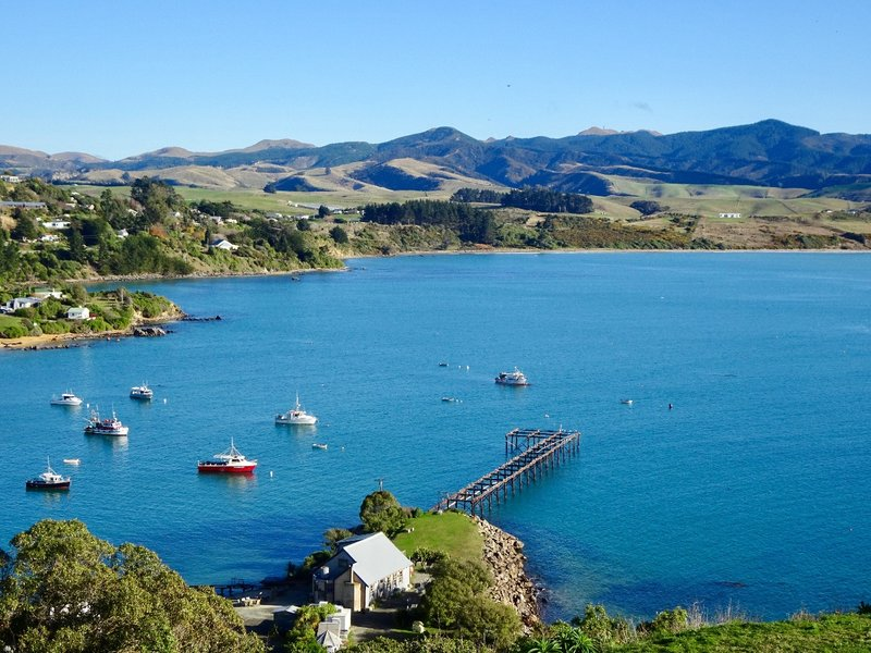We went to the hill overlooking Moeraki for this view of the village and the shoreline. The Moeraki Boulders would be just out of view on the right side of this picture.