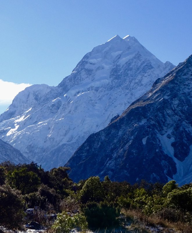 The view of Mt Cook from Mt Cook Village.
