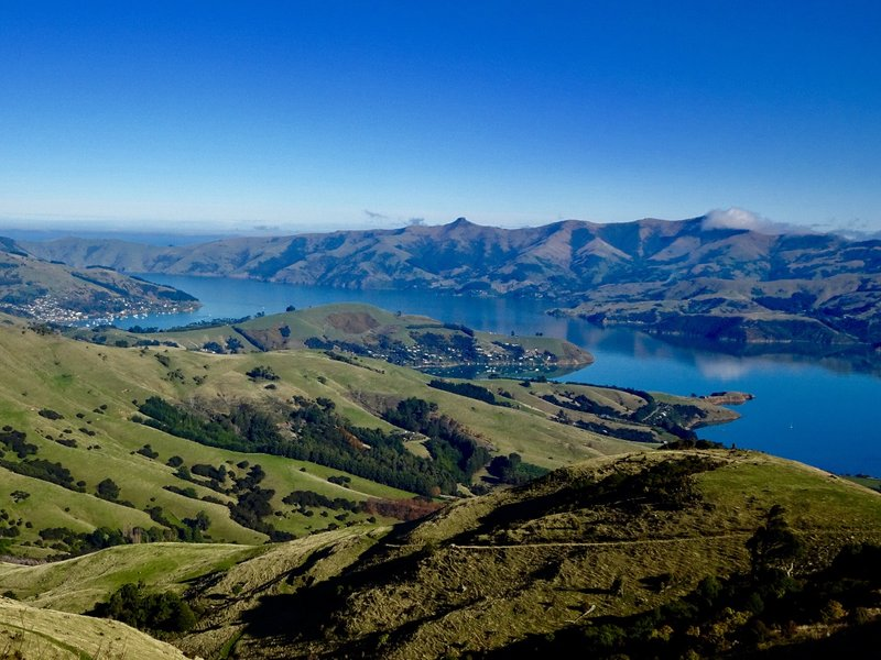 The view from Summit Road looking down at the Banks Peninsula. The town of Akaroa is on the far left side.