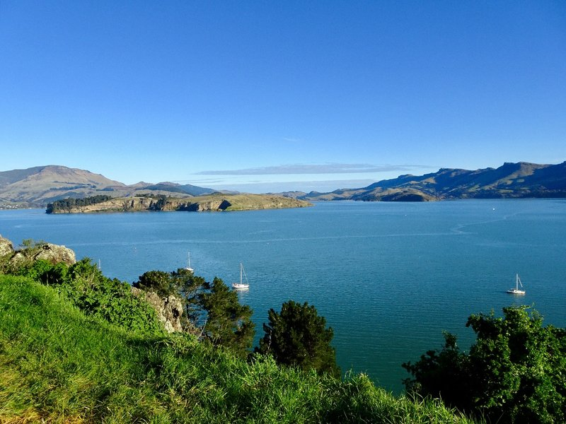 As we headed toward Christchurch, we passed by Governor's Bay. This view looks toward Turtle Island; it is hard to believe that just around the corner is the busy port of Lyttelton.