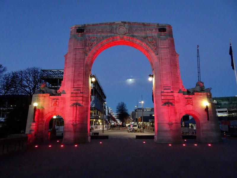 A memorial arch was added to an existing bridge over the Avon River in 1923. It was named the Bridge of Rembrance. It is dedicated to those who died in WW1 but also serves as a memorial to those who have participated in all conflicts since. It cost 6.7 million to repair after the earthquake.