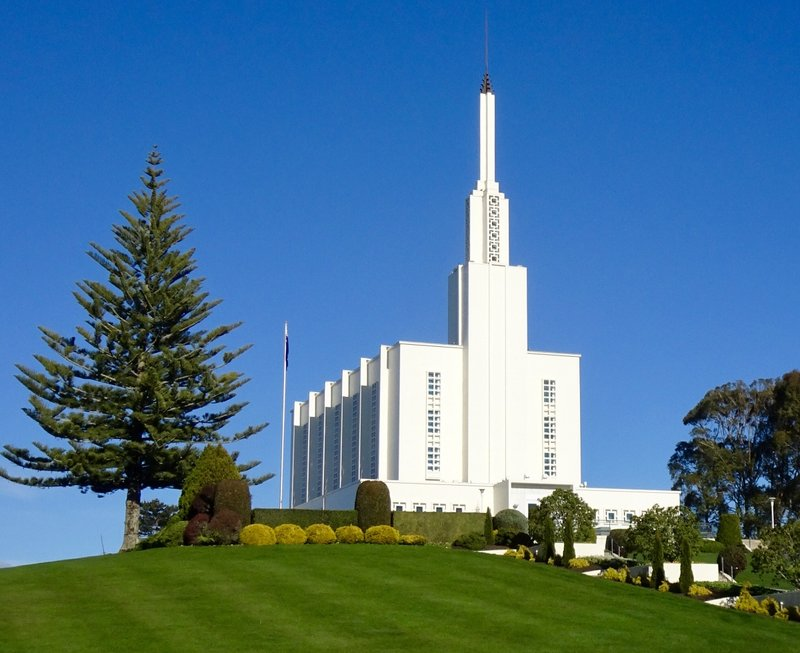 Situated on a hill, the Hamilton New Zealand Temple overlooks lots of farmland. It is a very pretty setting.