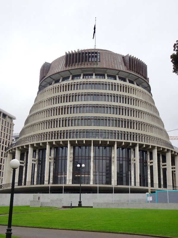 The Beehive was opened in 1979, on the land that was supposed to be used for the second phase of the Parliament House. It houses the Prime Minister (Bill English) and his cabinet. As you might of guessed, it's design has been controversial since it opened. It is unique, that's for sure!
