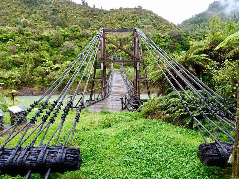 This is the historic Tauranga Bridge; it is one of only two harp suspension bridges left in NZ. It was built to link the farmland, in this part of the valley, with the outside world; however, the farmland here didn't produce enough to make the settlers efforts worthwhile. A lot of the farmland has been allowed to regenerate.