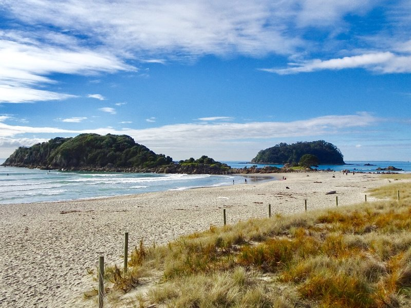 Main Beach sits at the base of the volcano; it runs south to Moturiki (Leisure) Island. Moturiki Island is connected to the beach by a man-made bridge. Although it was quiet when we were there, it is one of NZ's most popular beaches.
