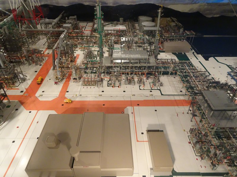 This is a model of the Mardsen Point Oil Refinery. The crude oil shipped here for refinement, supplies about half of NZ's gas needs for cars; however, most of it's jet fuel, diesel fuel and bitumen (for road surfacing) is produced entirely here.