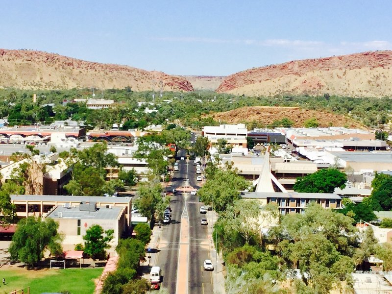 """This view over Alice Springs is looking toward """"the gap"""" created by  this natural separation in the Macdonnell Range."""