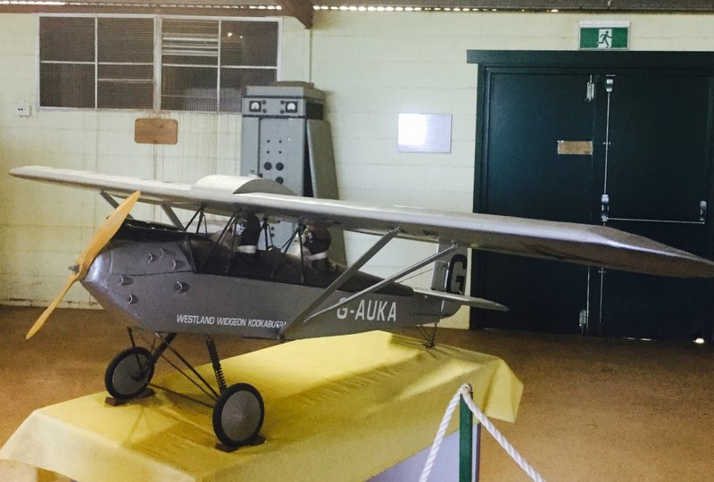This is 25% sale model of Westland Widgeon III- Kookaburra that was donated to the museum. It took 6 months to build and has 30 hours of flight time.