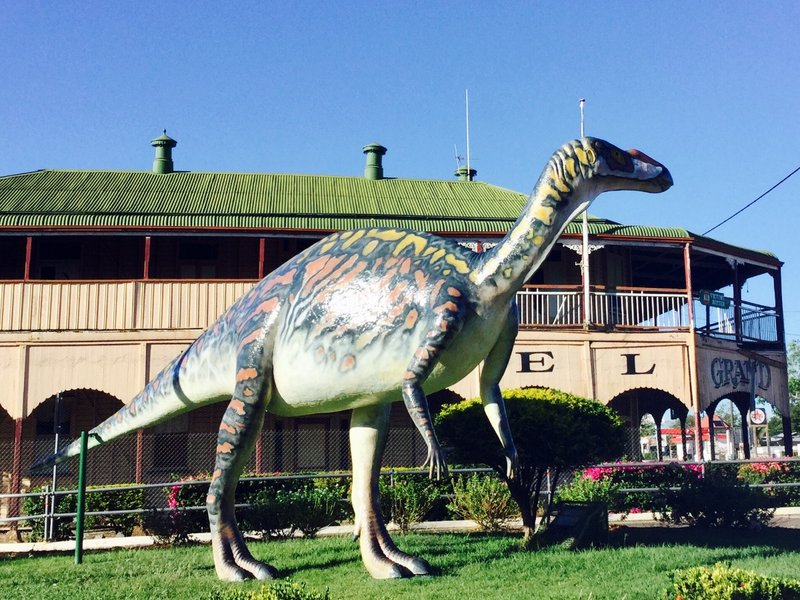 """This is a replica of a Muttaburrasaurus langdoni. It was named after the town Muttaburra, and the for local grazier (Doug Langdon) who discovered the skeleton in 1963. This one """"guards"""" Hughenton, but it was probably not fierce enough to do so, as it was thought to be a plant-eater."""