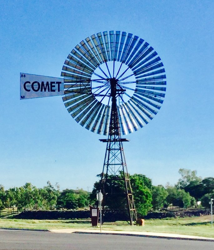This Comet Windmill is on display in Hughenton. They are still making these Comet windmills; the company has been in business for over 130 years.