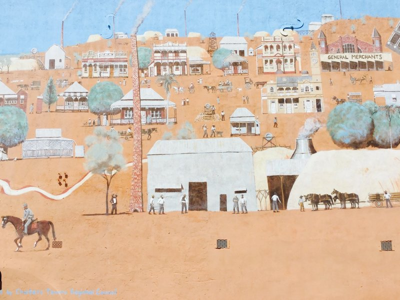 This is part of a huge mural on one of the buildings in town; it depicts life in the gold rush era.