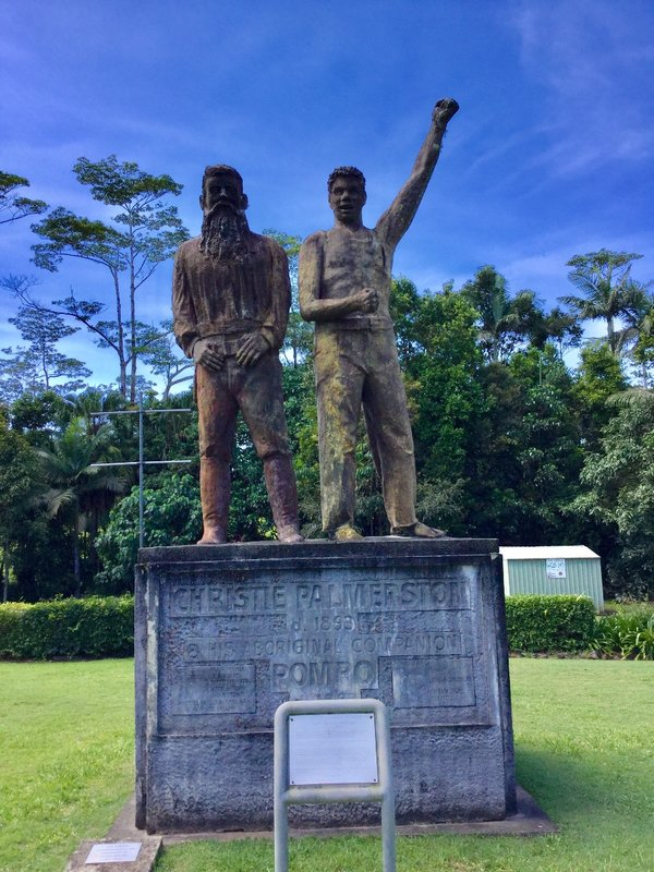 This statue, in a Millaa Millaa Park, is of Christie Palmerston and the Aboriginal guide Pompo. Palmerston was a northern QLD explorer who discovered several routes to places like Port Douglas, and to the Tablelands. As we travelled the Palmerston Highway back to the coast, we basically followed the same route that Palmerston explored in 1882.