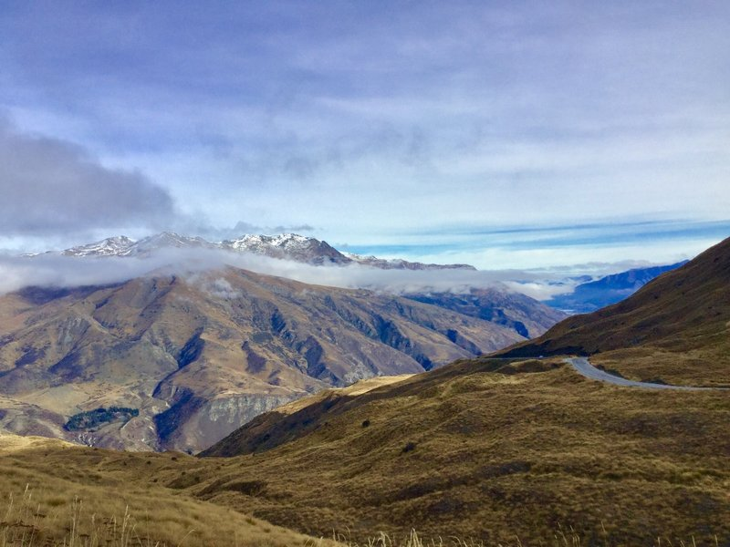 The view from the Crown Range lookout is of Queenstown and Lake Wakatipu.