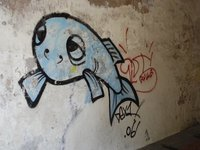 Riga - Street art (tired fish)