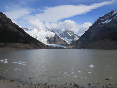 Glacier at the back and ice chunks up close at Laguna Torre