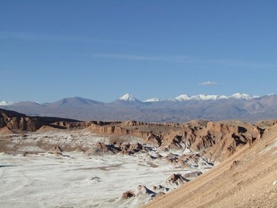 Salt on the ground and snow on the peaks