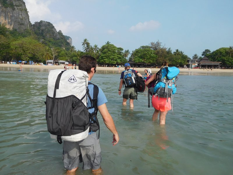 A treacherous, rocky walk to the beach from the longboat