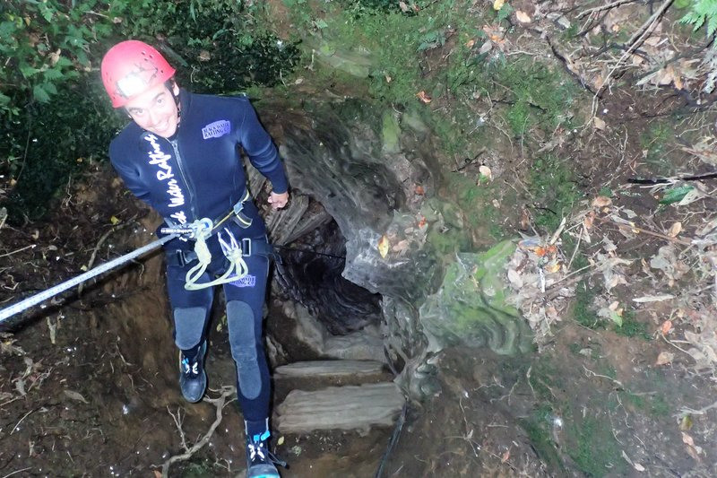 Abseiling into the cave (2)